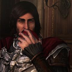 Cesare neemt een hap uit de vergiftigde appel.