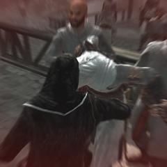 Al Mualim steekt Altaïr neer.