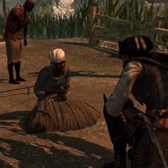 Aveline praat met een groep slaven