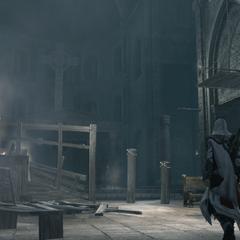 Ezio in de basiliek.