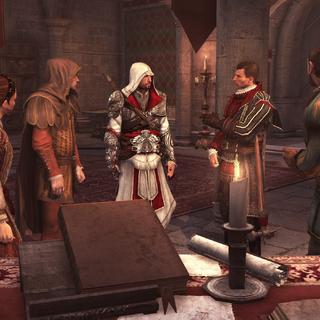 Ezio discussieert met de andere Assassijnen.