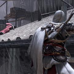 Ezio achtervolgt de kardinaal over het dak.