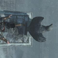 Ezio schopt de waterspuwer naar beneden