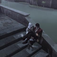 Ezio draagt Federico's lichaam