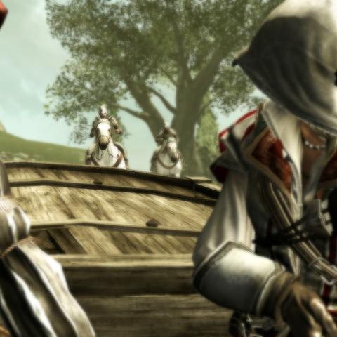 Ezio and Leonardo being pursued by Borgia guards