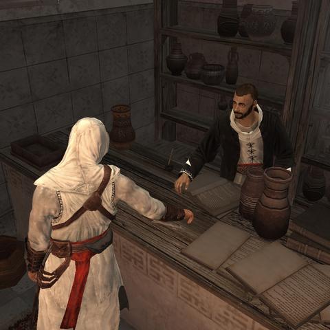 Altaïr pakt de veer.