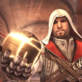 Ezio presenteert de appel uit het paradijs aan de anderen.