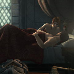 Ezio ligt met Caterina in bed