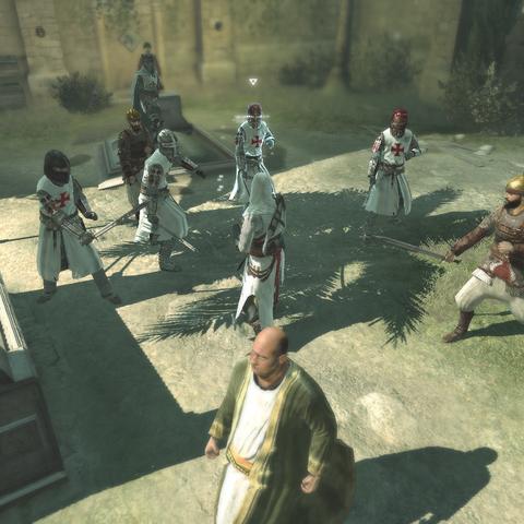 الطائر fighting Saracens and Crusaders at the cemetery