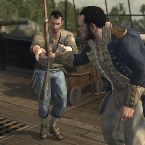 理查德从船员手里拿过步枪