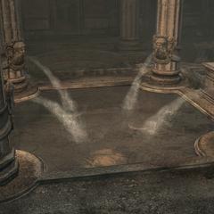 De fontein wordt geactiveerd