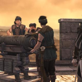 De huurlingen en de monteur bij het tweede kanon