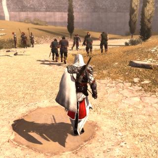 Ezio laat zijn huurlingen vechten tegen de <a href=