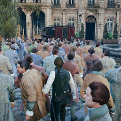 Arno loopt door de menigte