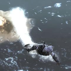 Ezio verlaat het vernietigde kanon.