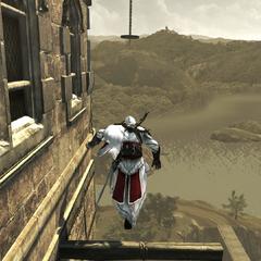 Ezio baant zich een weg naar de fabriek.
