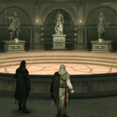 Mario en Ezio in het toevluchtsoord.