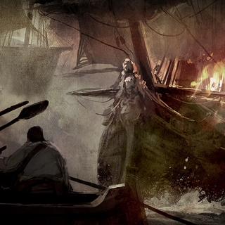Concept art of a pirate ship on fire near a canoe