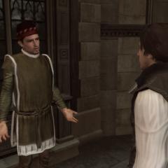 Ezio praat met Boetio.
