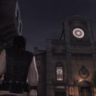Ezio kijkt naar de toren.