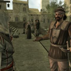 Ezio praat met de huurling.