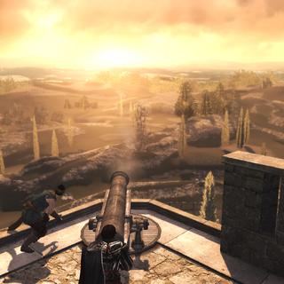 Ezio probeert het gerepareerde kanon uit