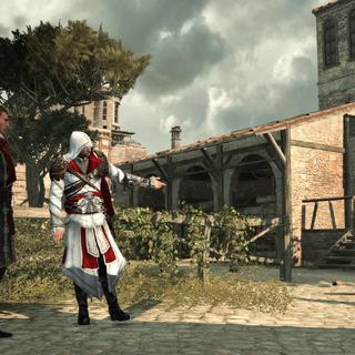 Ezio en Machiavelli bij de stallen