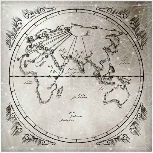 一张包含了欧洲,非洲,亚洲和澳大利亚的地图,一个圆弧上引出许多线指向世界各地——可能是第一文明的神庙,伊甸碎片藏匿处,或者刺客的秘密地点。