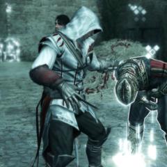 Ezio vecht met de wachters.