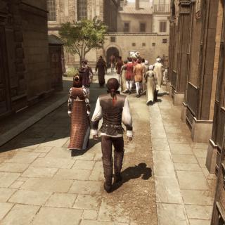 Ezio loopt samen met Maria naar Leonardo.