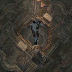 Ezio springt naar een lagere verdieping