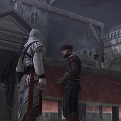 Ezio vraagt de wachter naar de lichamen van zijn familie