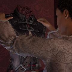 Aveline pakt haar Assassijnengewaad