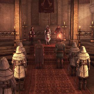 De Assassijnen komen samen in de schuilplaats op Tibereiland.
