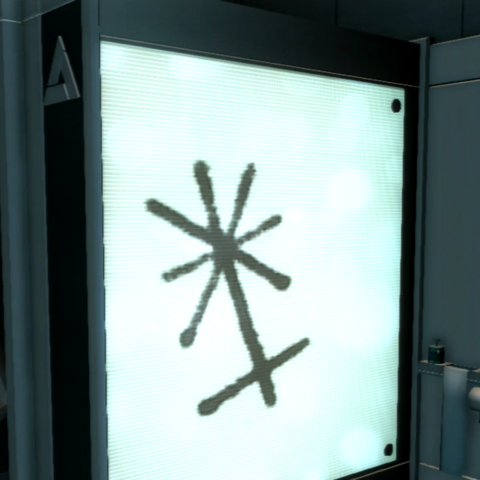 The Instruments' emblem in an Abstergo Entertainment restroom