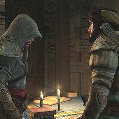 Yusuf stelt Ezio voor om zijn uitrusting te verbeteren