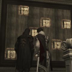 Mario en Ezio bij de Codexpagina's.