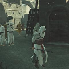 Altaïr begeleidt de informant.