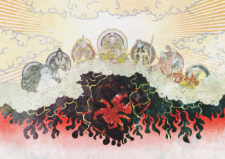 A depiction of the Seven Deities banishing Asura