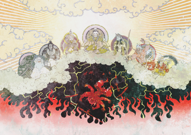 File:A depiction of the Seven Deities banishing Asura.png
