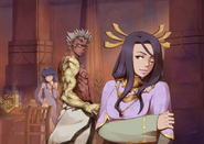 Durga and Mithra teasing Asura