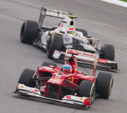 Fernando Alonso and Sergio Perez 2012 Malaysia