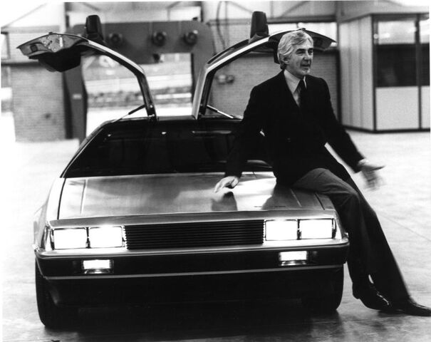 File:John De Lorean and a De Lorean.jpg