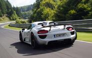 Porsche-918-Spyder-on-Nurburgring-rear-side-view