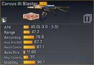 Corvus III Blaster statistics