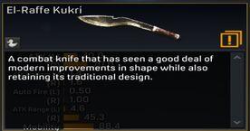 El-Raffe Kukri Weapon Description