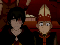 Aang and Zuko awkwardly watch play