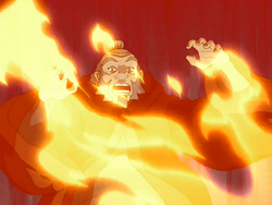 Iroh surprised by the flames