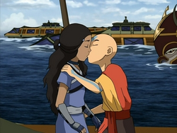 Aang kisses Katara