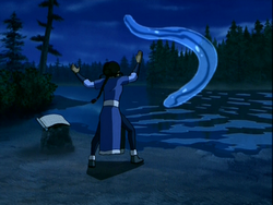 Katara practises the water whip